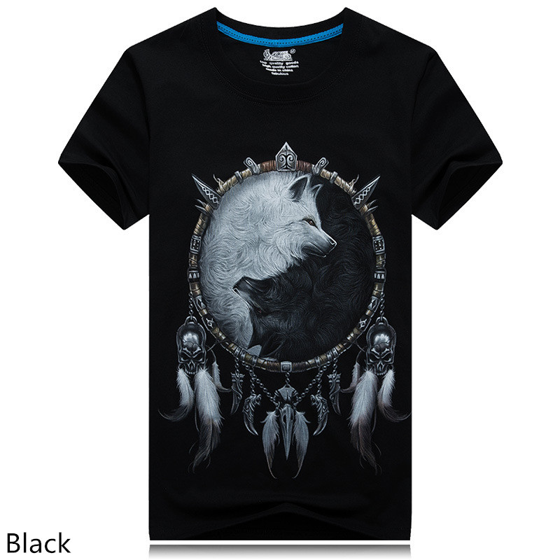 mens fashion brand t shirt 2016 summer new style 3d animal Owl/Skull/wolf/ fox Digital Printed T Shirt Hip Hop Funny O-Neck Tees(China (Mainland))