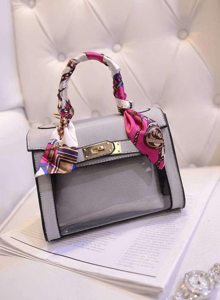 New 2015 Fashion Silk Ribbons Lock bag transparent bag candy PVC bag Peekaboo Mini beach Bag women handbag WHB4(China (Mainland))