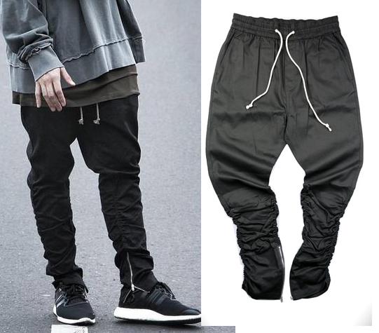 Justin bieber brand style side zipper men slim fit casual mens hip hop jogger biker pants swag sweatpants skinny trousers olive(China (Mainland))
