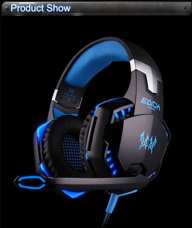High quality Kotion EACH G2000 Deep Bass Gaming Headset Earphone Headband Stereo Headphones with Mic LED Light for PC Gamer