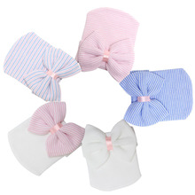1 PC Hospital Newborn Hat Lovely Baby Girl Cotton Beanie With Bow Infant Soft Knit Striped Caps Baby Toddler Hat Accessories(China (Mainland))