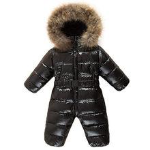 2019 Del Bambino Della Ragazza Tute, Appena Nato Del Bambino Vestiti Del Ragazzo di Marca di Inverno Giacche Vestiti Del Bambino Snowsuit Addensare Giù Tuta Sportiva & Cappotti(China)