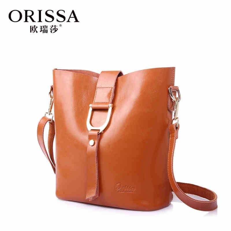 ORISSA 2015 fashion brand Oil wax leather handbag Women shoulder bag classic retro Star package dual bag for women SA8005<br><br>Aliexpress