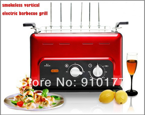 portable stainless steel vertical smokeless bbq household electric machine ham ,bbq grill tool set, cooking equipments, red 035(China (Mainland))