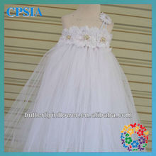 Princess dresses for kids Shabby flower rhinestone long dresses for kids One shoulder fancy baby dresses In stock-120sets/lot(China (Mainland))