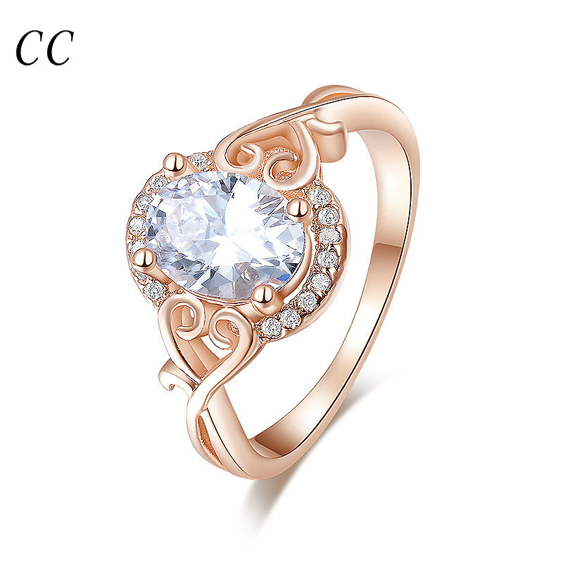 18K Rose gold plated lovely heart with AAA cubic zircon oval shape rings for women wedding party fashion jewelry gifts CCR157(China (Mainland))