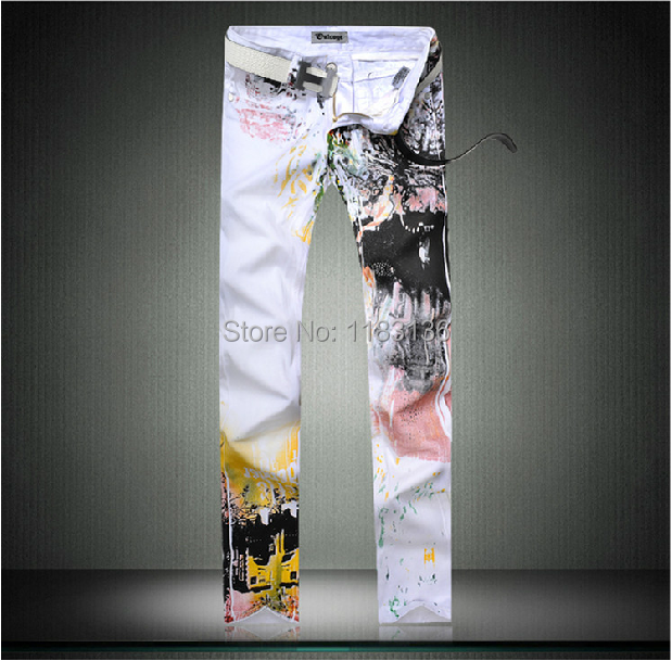 2015 fashion pants Spring and summer mens clothing male print jeans mid waist straight slim trousers plus size flower trousersОдежда и ак�е��уары<br><br><br>Aliexpress