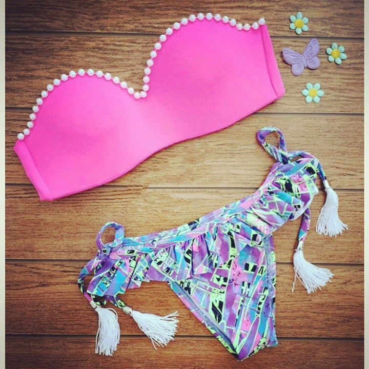 Лето стиль сексуальный женщины Triangl бикини пляж купальный костюм неопрен купальник комплект пуш-ап бразильский Biquini майо де бейн