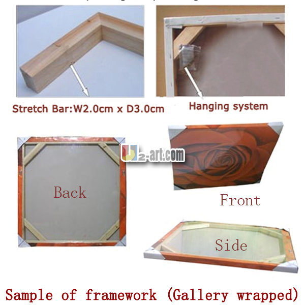 product Gallery wrapped Stretcher bar Framework for oil painting and canvas prints