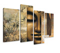 4 piece canvas wall art Abstract face handmade canvas painting of buddha decorative picture buda wall