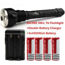 Wholesale SKY RAY 4000 Lumens 3T6 3 x CREE XM-L XML T6 LED Flashlight Torch +4* 4000Mah18650 Battery + Double Battery Charger(China (Mainland))