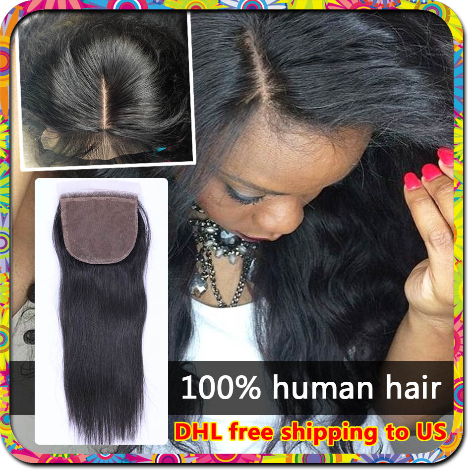 Cheap Silk Base Closure Straight Silk Closure Virgin Hair Malaysian Straight Closure Human Hair Middle 3 Part Silk Base Closure(China (Mainland))