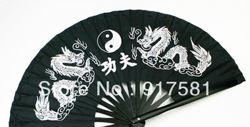 Free shipping Oriental Martial Arts Chinese Kung Fu/Tai Chi/Dance/Practice Performance Black bamboo Folding Dragon Fan