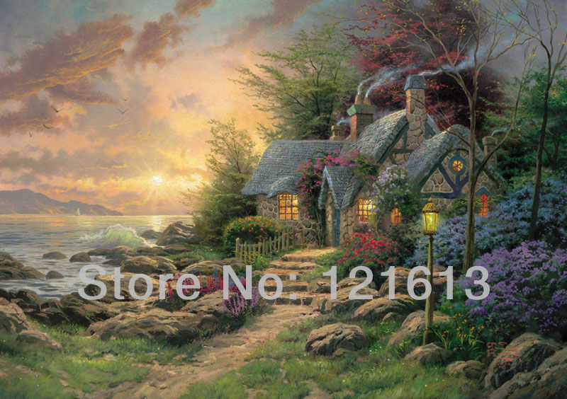 Thomas Kinkade Original Landscap Oil Painting Seaside Hideaway Art Print On Canvas Wall Decor