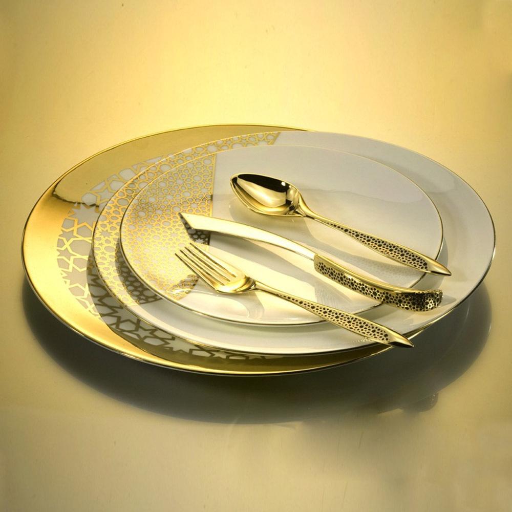 Top Dinner Set Royal Gold Leaves Flatware Set Steak Noodles Knife Fork Spoon Serving Tools Western Dinnerware Table Cutlery(China (Mainland))