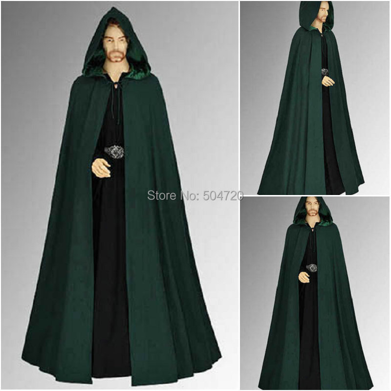 Freeshipping r 915 vintage costumes new men dress gothic hooded cloak
