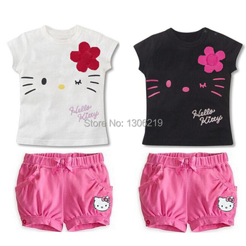 Drop Shipping New 2015 Children Hello Kitty Sets Girls Sport Clothing Set Baby Kids Clothes Cute Top Tees T Shirt Shorts Pants