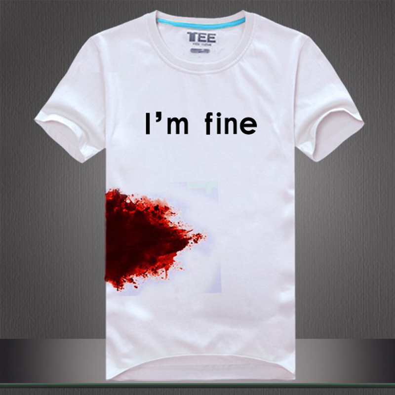 Fashion New Men Women's tee shirt print I'm fine blooded funny t shirt t-shirts cotton short sleeve summer casual tops(China (Mainland))