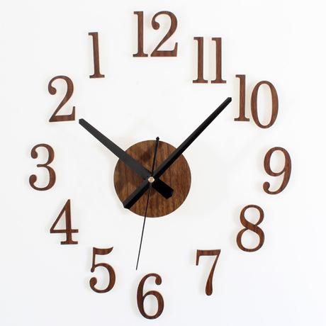 QIYUE The clock back wood texture 3D stereo DIY clock wall clock clock sticker DIY reverse fashion free shipping(China (Mainland))