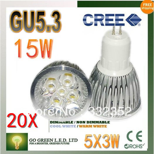 Free shipping 20XHigh-power CREE led bulb GU5.3 12W 15W AC85-265V Dimmable Warm/Pure/Cool white led Spotlight led lamp led