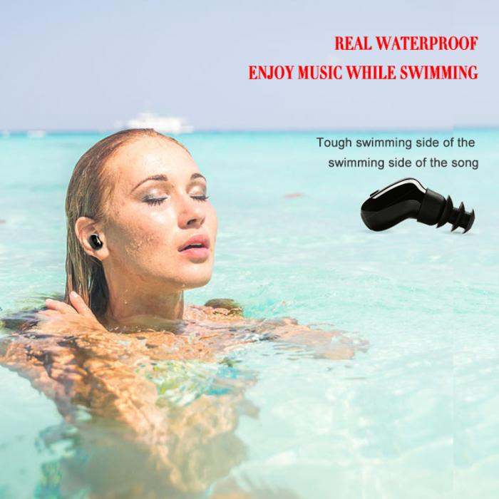 Newly Mini Bluetooth V4.1 Waterproof Earphone Wireless Sports Swimming Stereo Earbud with Mic for All Phones
