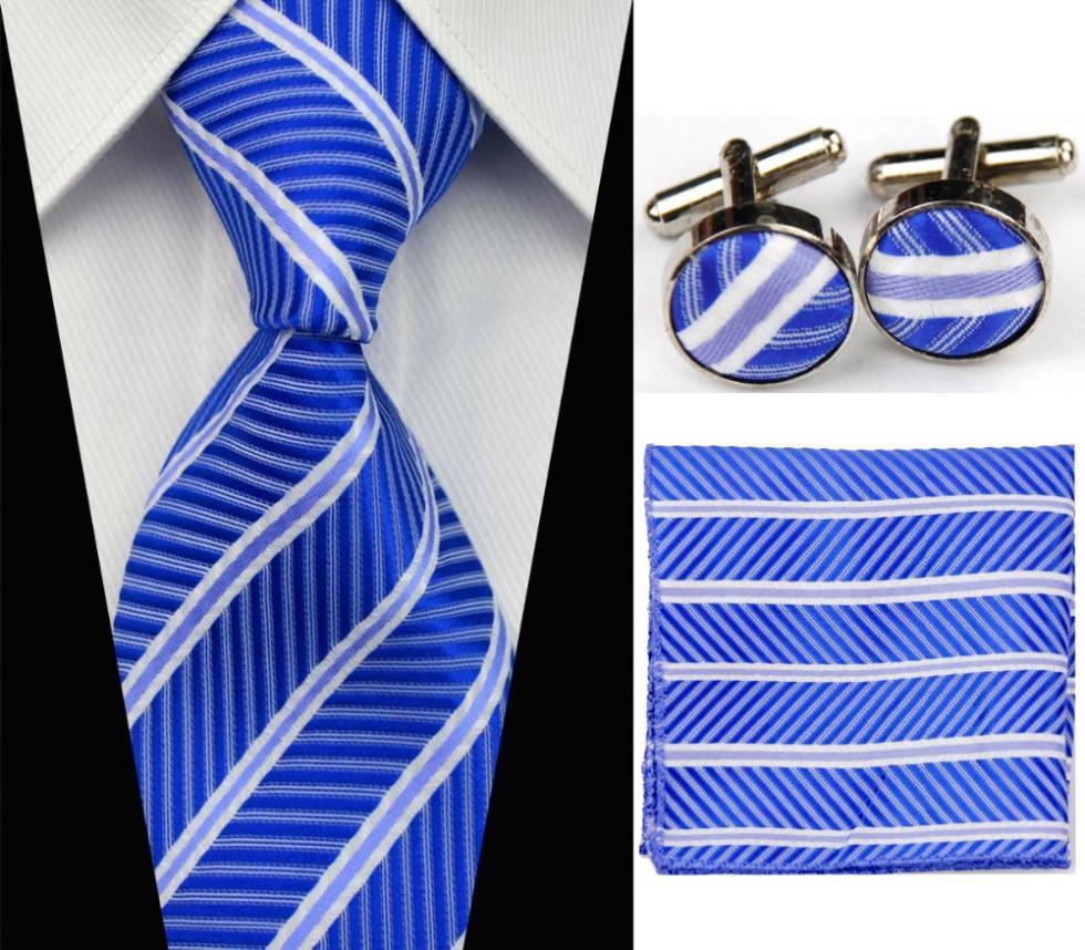 SNT0009 2014 striped neck tie set necktie hanky cufflinks color men's ties sets Handkerchiefs Pocket square - askformore store