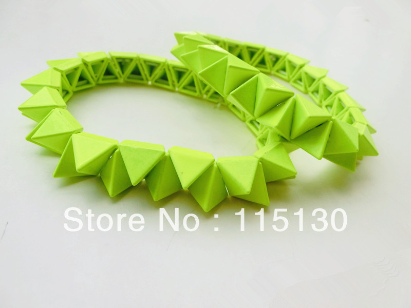 Rock Punk Neon Elastic Triangle Cone Bracelets Bangles Colorful Stretchy Spike Rivets Metal Bracelets Fashion Jewelry Wholesale(China (Mainland))