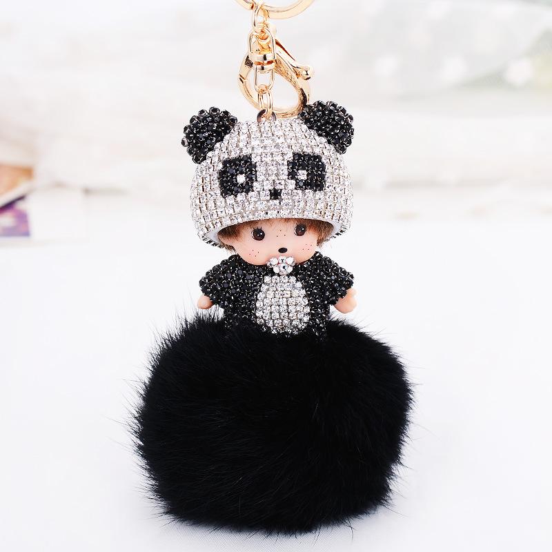 Monchichi Keychain Girl Monchhichi Sleutelhanger panda Crystal Fur Ball Keychain Key Chain  Pom Pom Women Key Holder Bague<br><br>Aliexpress