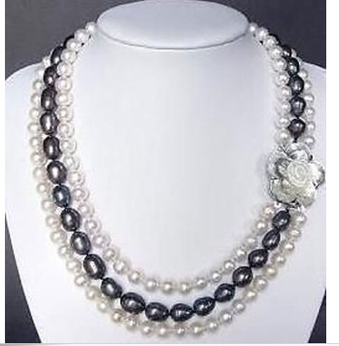 Beautiful Jewelry 3 row 7-8mm Real White & black pearl Necklace shell clasp(China (Mainland))