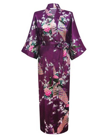 Фиолетовый мода женщин павлин долго кимоно банный халат ночная рубашка платье юката ...