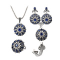 2016 Fashion Vintage Turkish Jewelry Sets Sapphire Crystal Flower Pendant Antique Silver Plated Bracelet Ring Necklace
