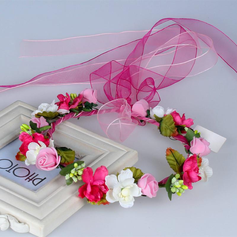 2016 New Red Flower Floral Bridal Hair Crown Wreath Hairband Bohomian Wedding Hair clip Flower Headband Garland Hair Bows Purple(China (Mainland))