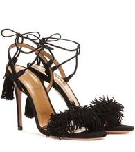Black Fashion Summer Sandals Sheepskin Genuine Leather Tassel 10CM High Heels sandals Sexy sandals Fringe Wedding Shoes S-001