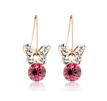 E123249 New Pink Green Crystal Earrings Zinc Alloy 18K Rose gold platium Plated With Austria crystal Fashion Jewelry For Wemon(China (Mainland))