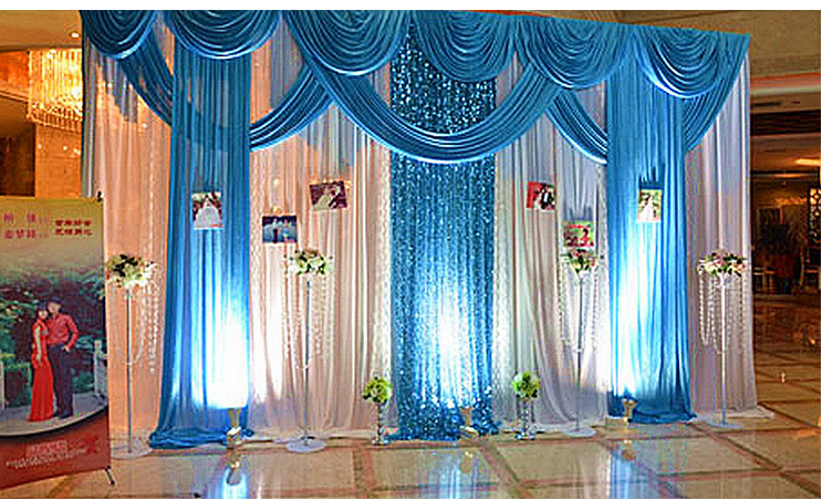 Desain Baru Pernikahan Biru Swag Backdrop Pernikahan