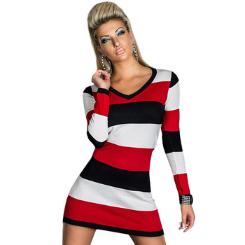 Striped Casual Dress Free Shipping Cheap Tunic with Red and Black White Accent Sexy  Mini dress Long Sleeve Winter Dress