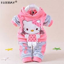 Retail Baby Girls Kitty Clothing Sets Kids Velvet Suits Infant Tracksuits Sports Sets Outwear Cartoon Hoodies Pant Suit 3-24 Mon(China (Mainland))