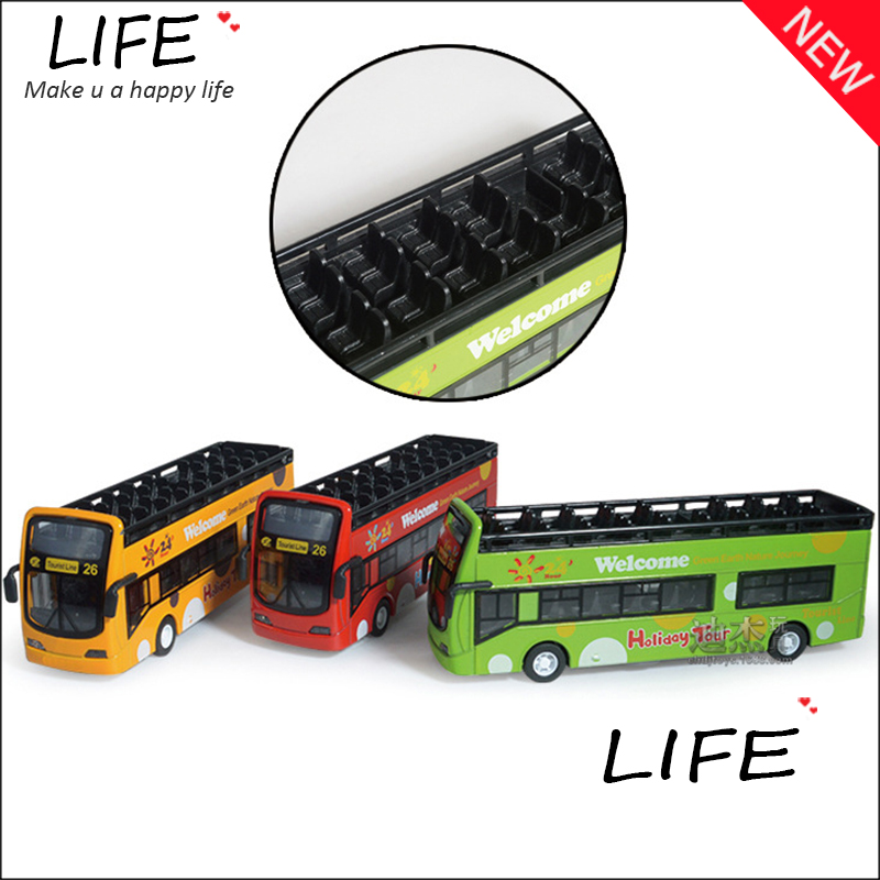 Free Shipping Alloy Luxurious Drop-top Travel Bus Models For Kids Toys Wholesale Longest Public Bus Models Three Color Car Metal(China (Mainland))