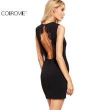 Buy COLROVIE Sexy Ladies Black Lace Trim Open Back Sheath Dress Women O Neck Sleeveless Backless Bodycon Mini Dress for $12.98 in AliExpress store