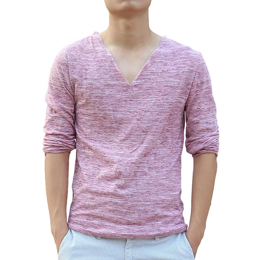 Casual oversized v neck t shirts men plain long sleeve for Mens plain v neck t shirts