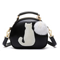 2016 New Fashion Cute Cat Messenger Bag Girls Black White Leather Shoulder Bags Small Circular Fur