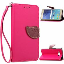 For Samsung Galaxy J2 2015 Flip Leather Case J200 J200M Leaf Style Wallet Case For Samsung J2 2015 Soft Phone Cover Card Holder