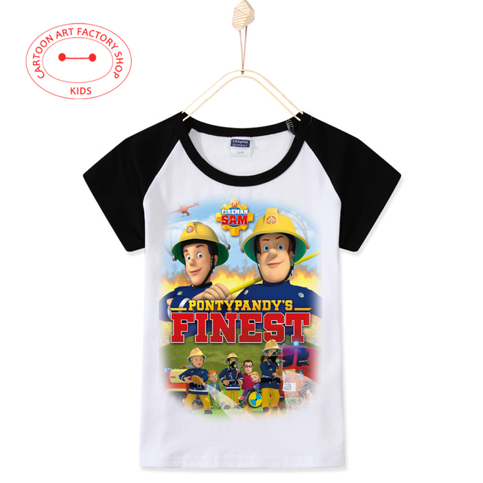 2016 Time Limited Summer Children Clothes Fireman Kids T-Shirts Cotton Mixed Colors 3D Print T-Shirts Girl Top Free Shipping(China (Mainland))