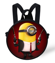 9-Inch 2015 Kids Cartoon Characters Backpacks Despicable Me Minion Backpack Children Gift Bags Girls Kids Bag Minions Schoolbag(China (Mainland))