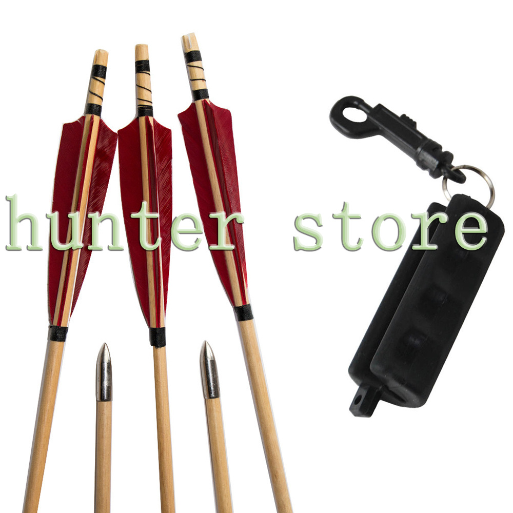 5pcs Wooden Arrows Hunting Sling Shot Arrow Shafts 5inch Red Feather Self Nock Silver Broadheads 1 Arrow Remover Bow Accessories(China (Mainland))