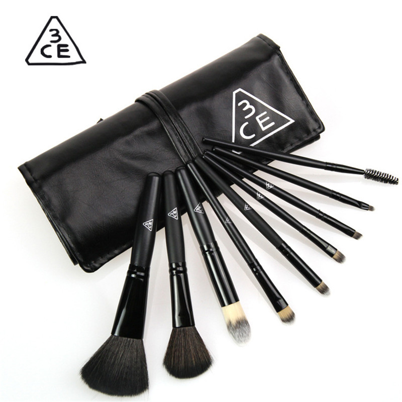 Set of Brushes For Makeup 9PCS Cosmetics Eyeshadow Eyeliner Brush Wooden Makeup Tool Fiber High Quality Makeup Sets Kits(China (Mainland))