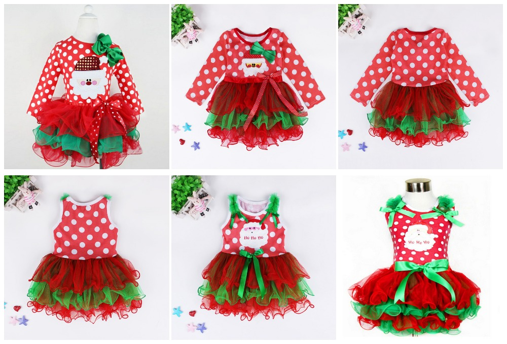 2015 New Baby Girls Christmas Man Dot Dress Costume Cotton children Dresses Christmas Red color children's Clothing 2-6 yrs DS20(China (Mainland))