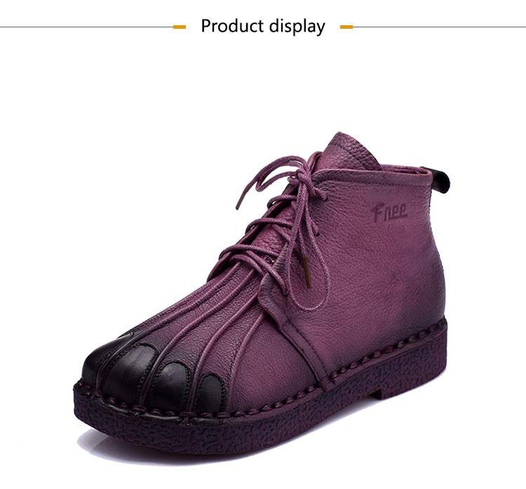 Handmade Ankle Boots Warm Velvet Martin Flat Boots Leather Shoes Retro Winter Snow Boots Botines Mujer  Women Shoes
