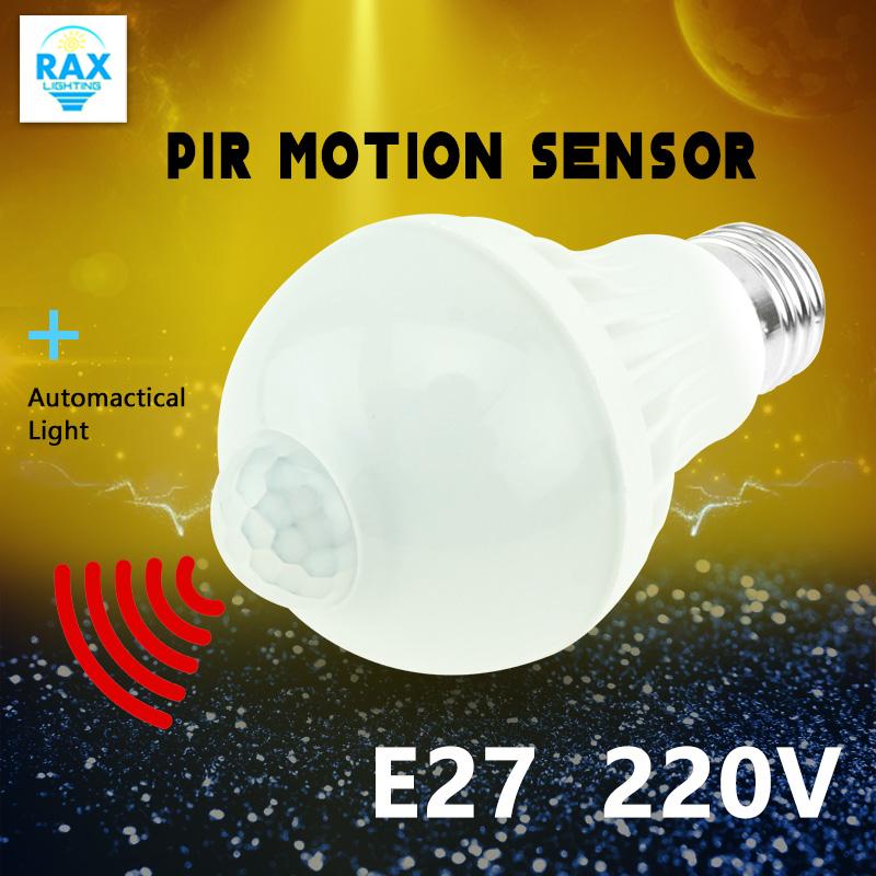 LED PIR Motion Sensor Bulb E27 220V Led Lamp 5W 7W 9W Auto Smart Led PIR Infrared Body Sensor Lamp Home Lighting Garage Stairs(China (Mainland))
