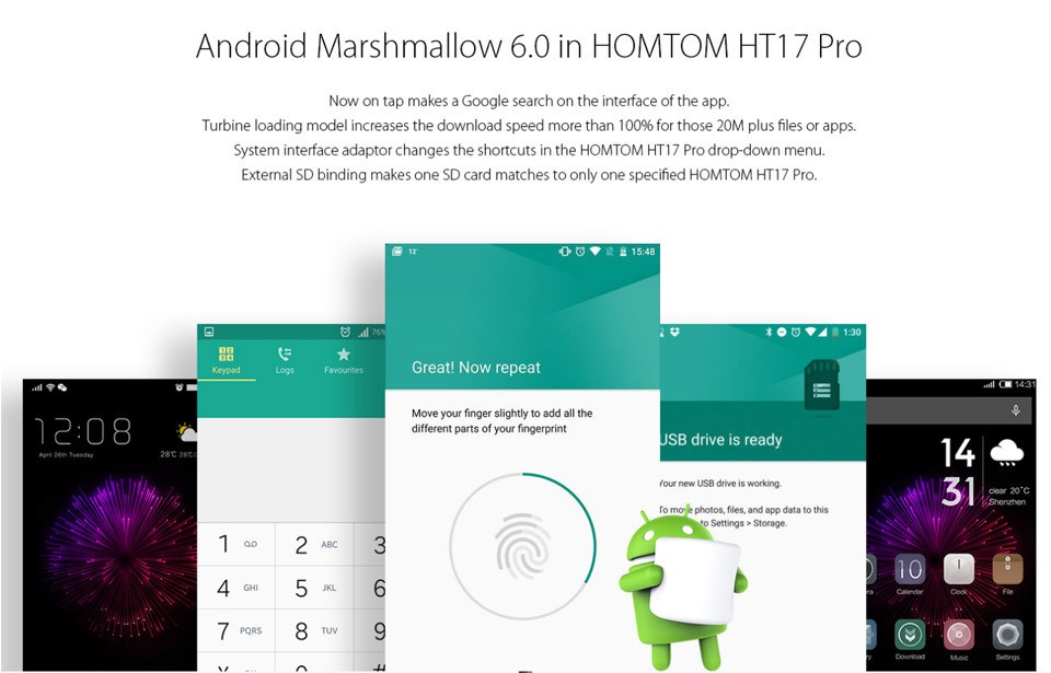 original Homtom HT17 Pro 4G 5.5″ 1280×720 smartphone Mtk6737 Quad Core 4G LTE Android 6.0 2GB RAM 16GB ROM 13MP Mobile Phone